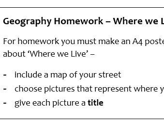 KS2 Geography Homework Sheet - Where we live