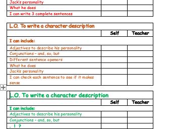 Character Description Success Criteria Differentiated