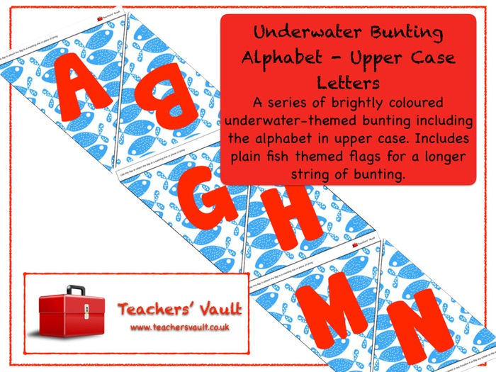 Underwater Bunting Alphabet - Lower Case Letters
