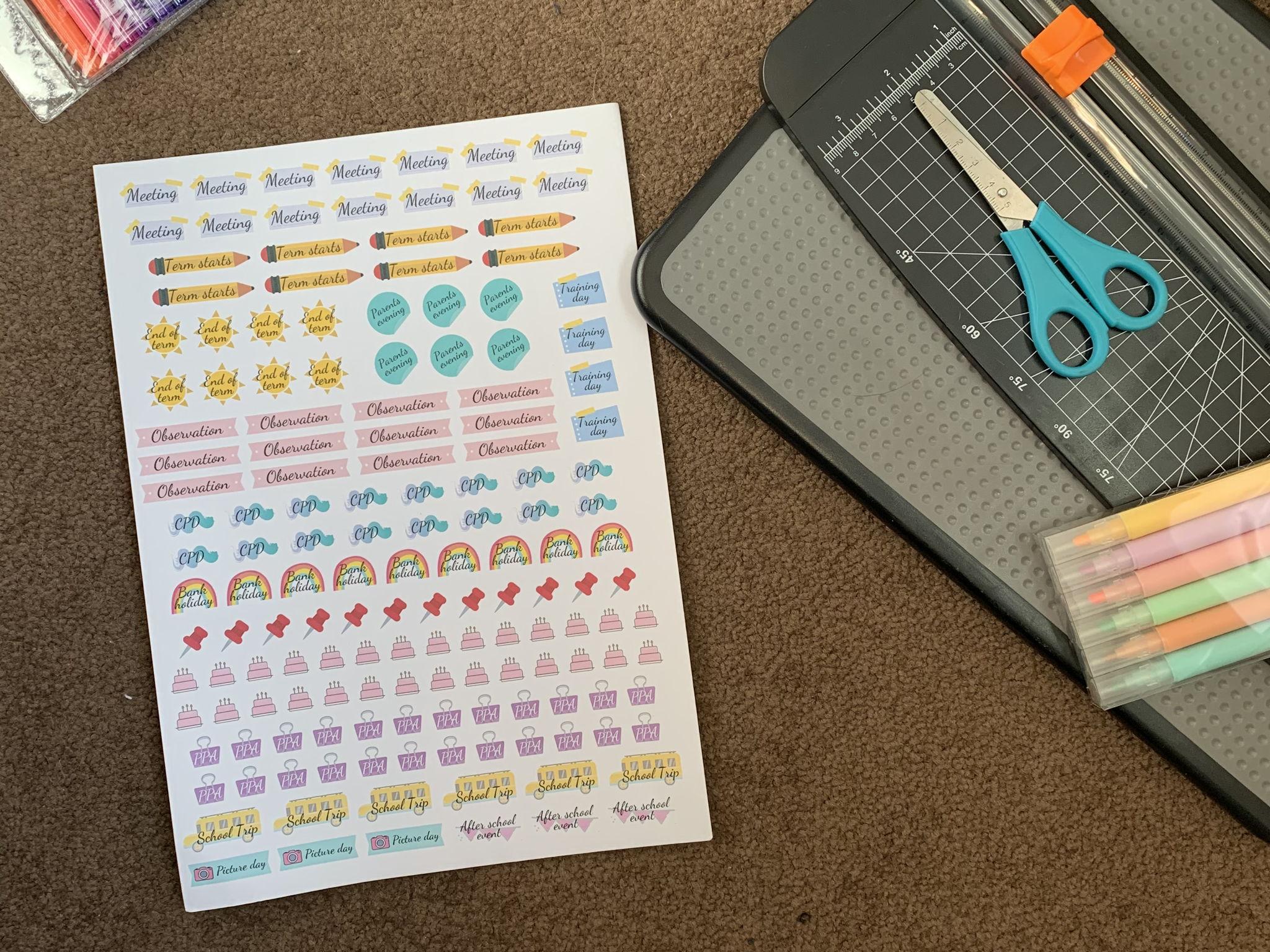Teacher organiser stickers - Template