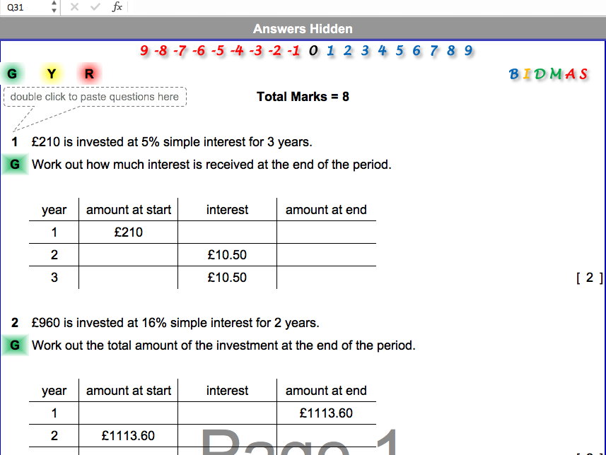 Simple and Compound Interest Differentiated Worksheet