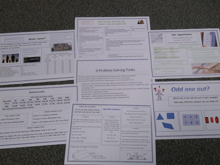 Problem solving tasks. Ice breaker/team building. Functional skills maths.