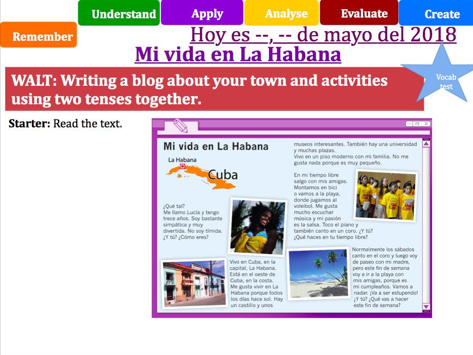 Y7 Spanish - Viva 1 - Mi vida en la Habana