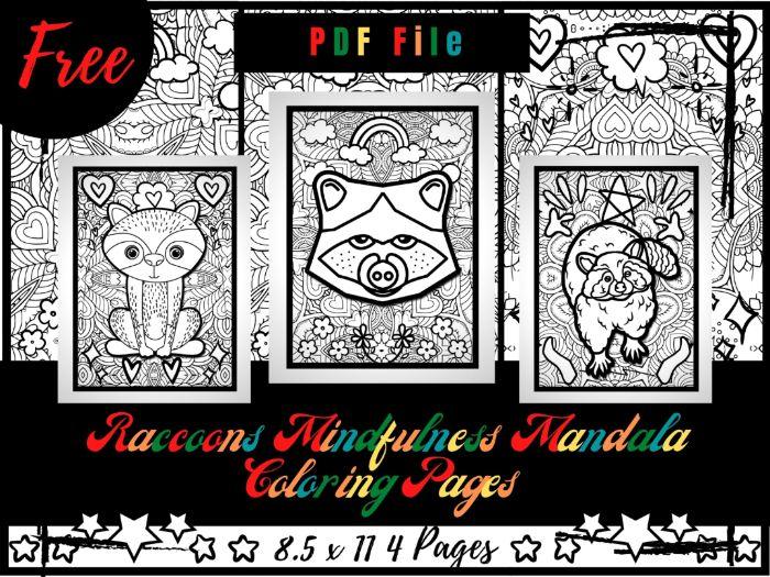 FREE Raccoons Mindfulness Mandala Coloring Pages, Animals Coloring Printable PDF