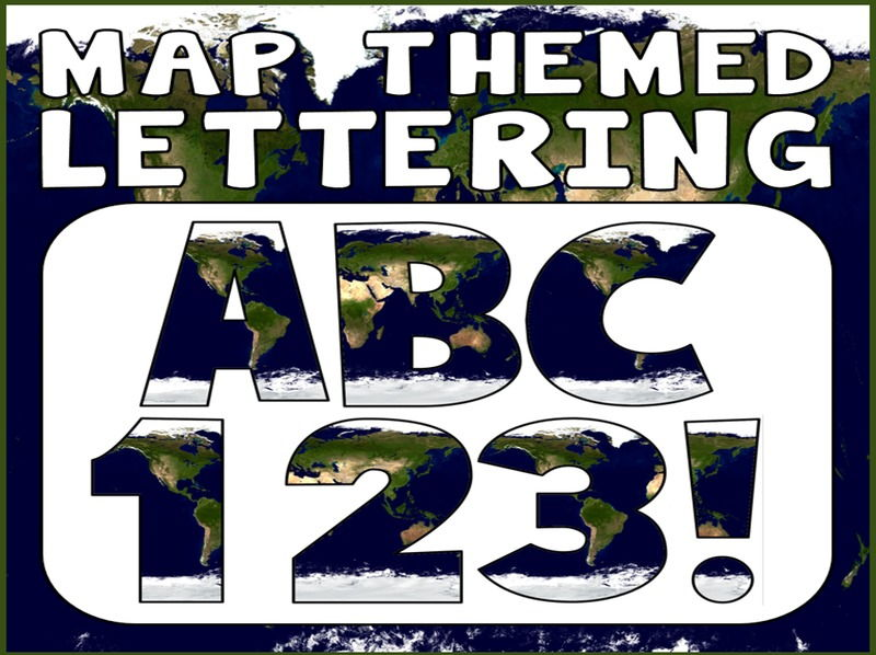 MAP THEMED DISPLAY LETTERING- LETTERS, NUMBERS, PUNCTUATION- GEOGRAPHY, WORLD, GLOBE, CONTINENTS
