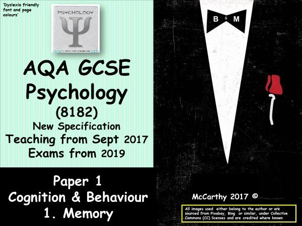 New Spec (2017) AQA. GCSE Psychology (Paper 1) Memory