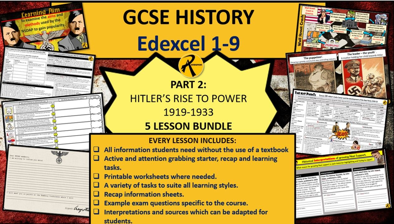 GCSE History Edexcel 1-9 Weimar Nazi Germany Bundle Part 2 Hitler's Rise to Power