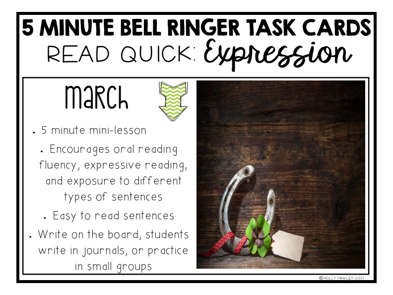 Read Quick Bell Ringer Task Cards-MARCH