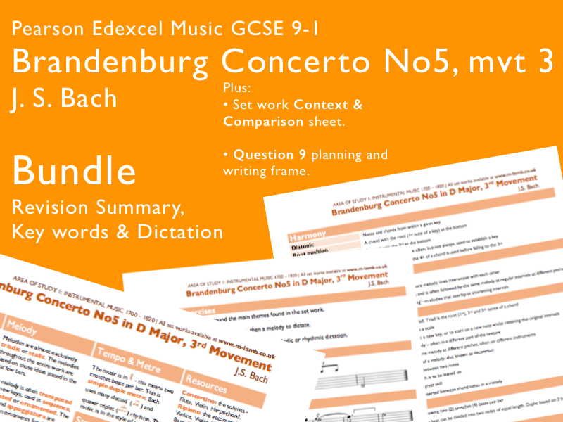 Revision Bundle | Bach - Brandenburg Concerto 5, mvt 3 | Edexcel Pearson GCSE Music 9-1