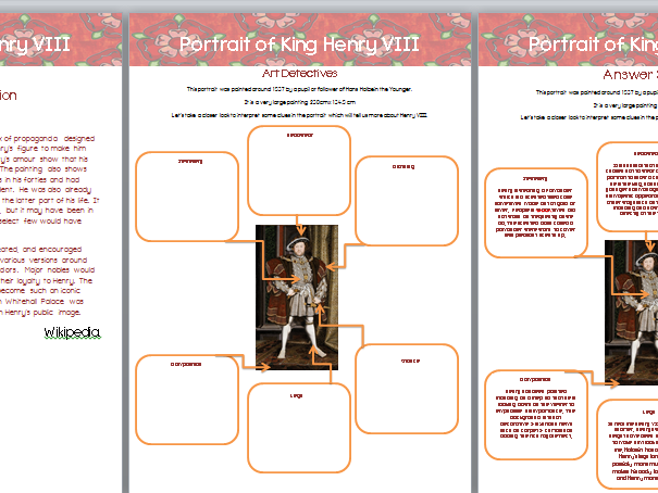 Henry VIII Tudor Portrait Art, History, English Worksheets & Wall Display Materials