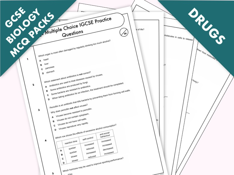 GCSE Biology: Multiple-Choice Topic Question Pack On Drugs