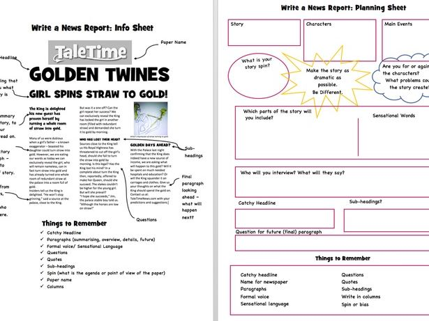 Creative Writing; News Report Writing Resource Pack
