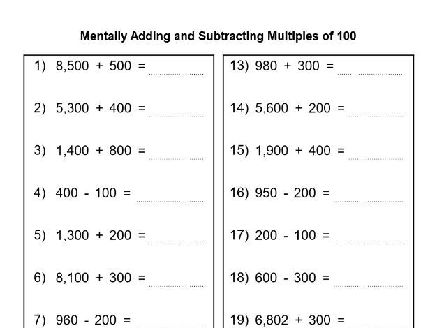 Menatally adding and Subtracting Multiples of 10 and 100