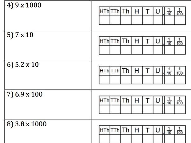 GCSE Maths - 40 Q & A - Multiply by 10, 100, 1000
