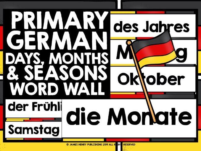 PRIMARY GERMAN DAYS MONTHS SEASONS DISPLAY WORD WALL