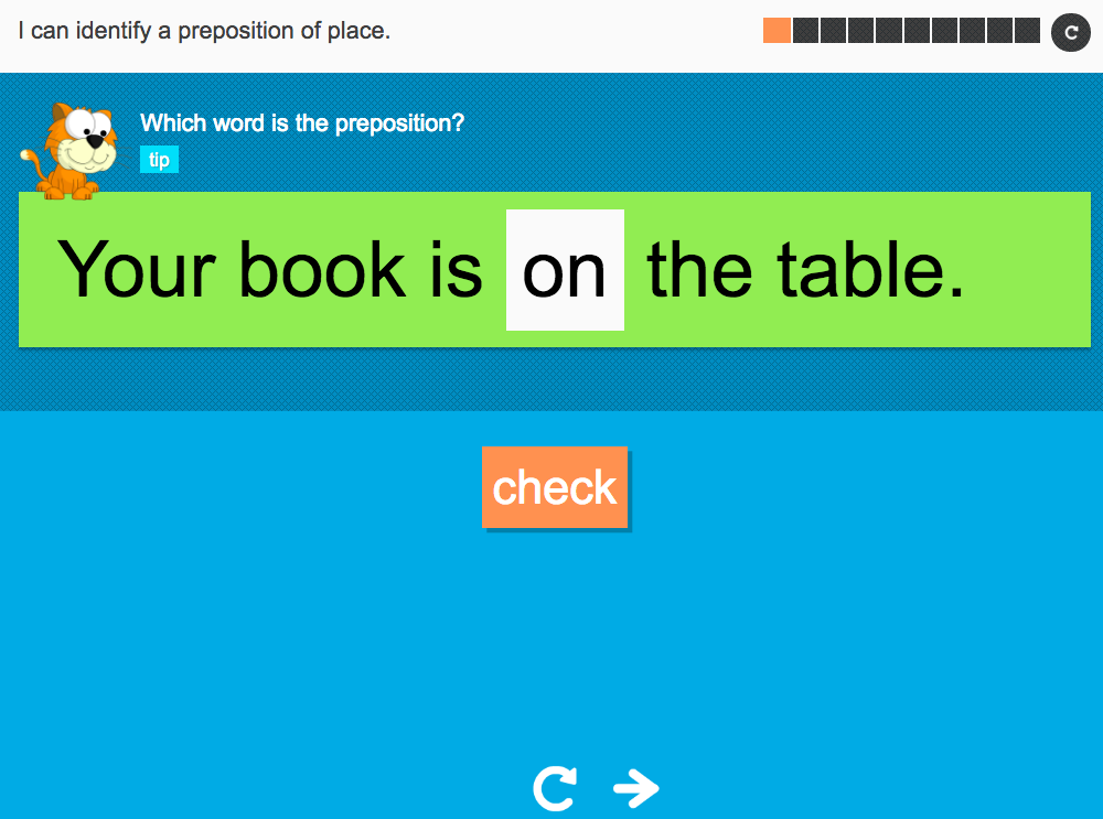 I can identify a preposition of place - Interactive Activity - Year 3 Spag