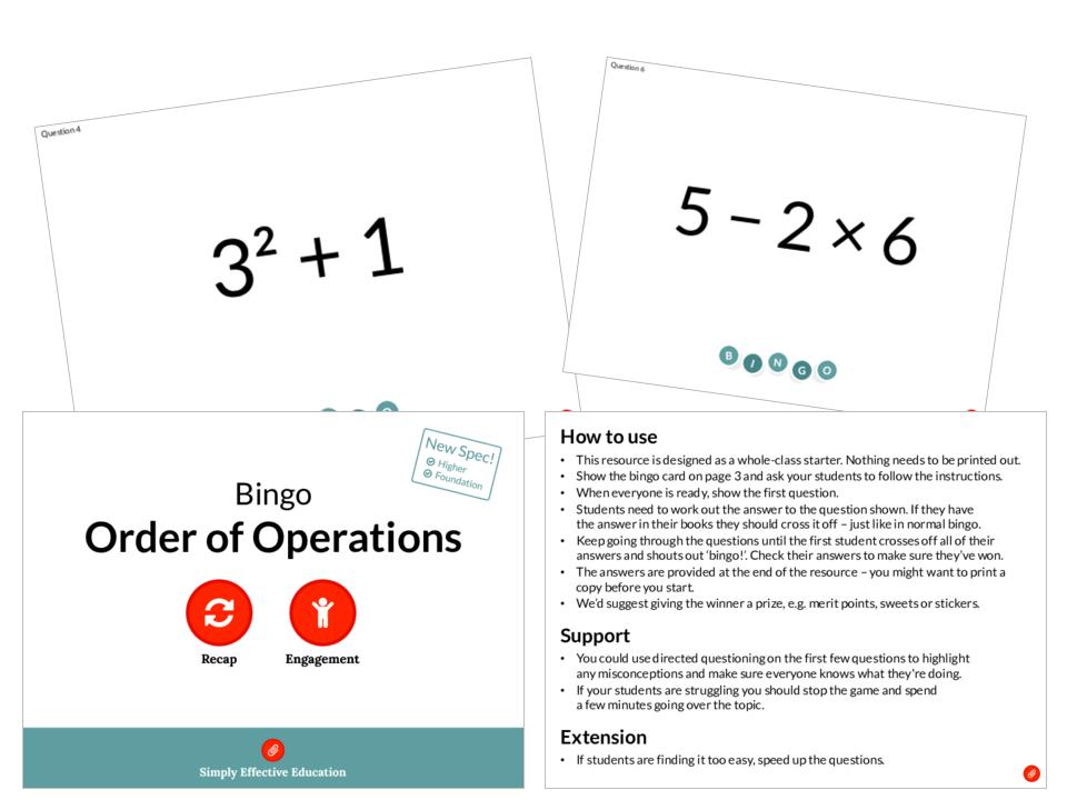 Order of Operations (Bingo)