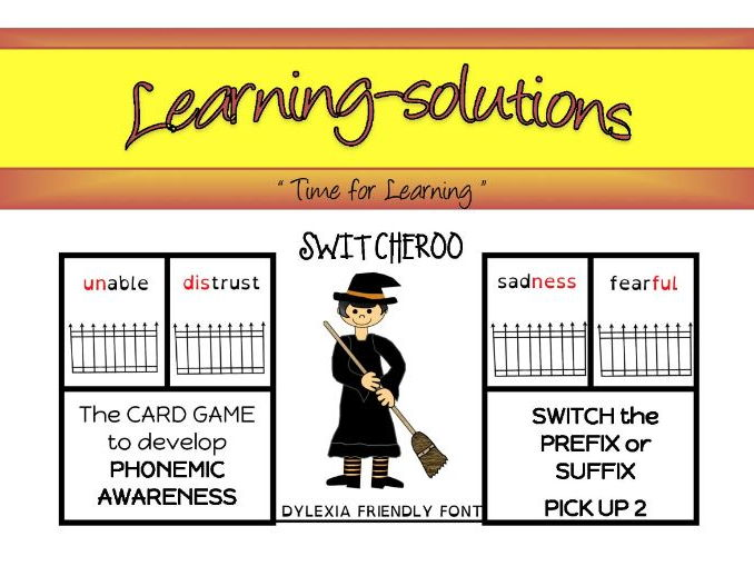 PREFIXES and SUFFIXES - SWITCHEROO CARD GAME - Phase 6 - 10 games