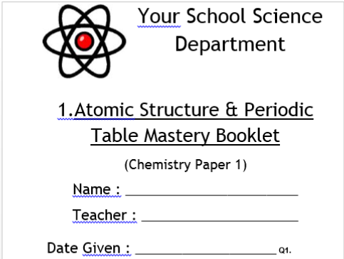 AQA GCSE CHEMISTRY / TRILOGY Mastery Booklets for the 10 (11) Teaching Topics