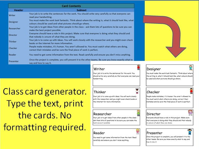 Class role card/challenge card generator [includes a set of library task cards]