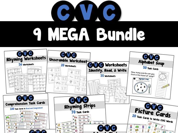 CVC Words Task Cards and Worksheets Mega Bundle