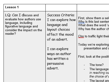 Reading lesson - discuss and evaluate author's use of language and impact on the reader