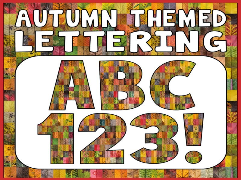 AUTUMN THEMED DISPLAY LETTERING- LETTERS, NUMBERS, PUNCTUATION-SEASONS LEAVES COLOURS