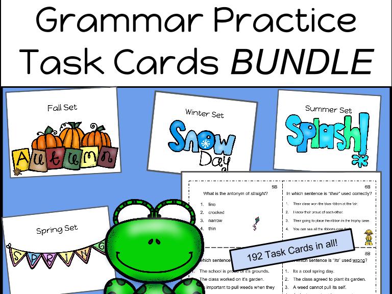 Grammar Practice Task Cards: Year Long BUNDLE (192 Task Cards!!)
