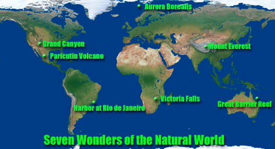 Seven Natural Wonders Of The World By Amac Teaching Resources - Natural world map