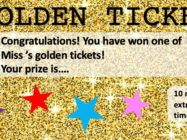 Golden Ticket Reward Cards
