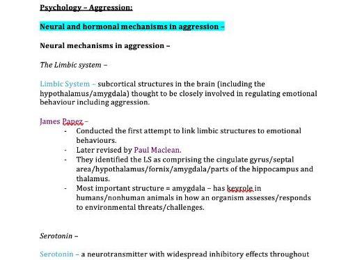 Aggression Notes (AQA Psychology A-Level)