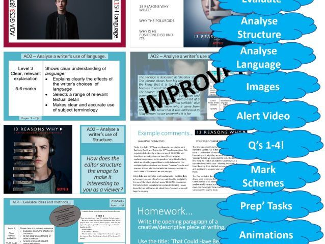 AQA 8700/1 GCSE English Language Paper 1 Section A Set - 13 Reasons