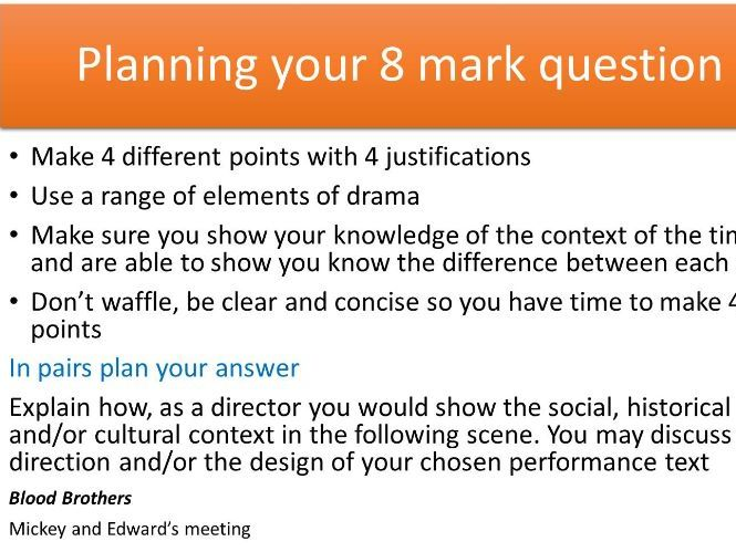 GCSE OCR Drama- 8 Mark context question revision lesson