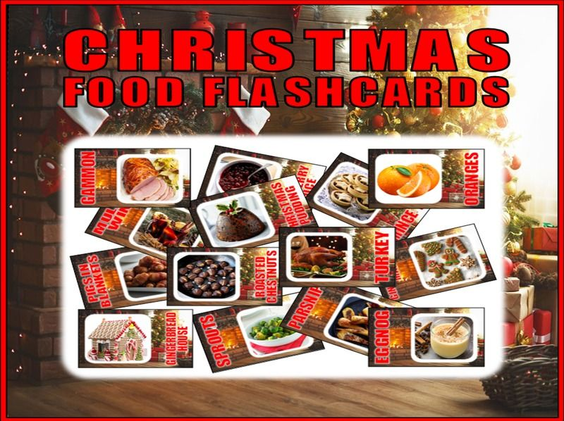 30 CHRISTMAS FOOD FLASHCARDS TEACHING RESOURCES DISPLAY SCIENCE KS2-4