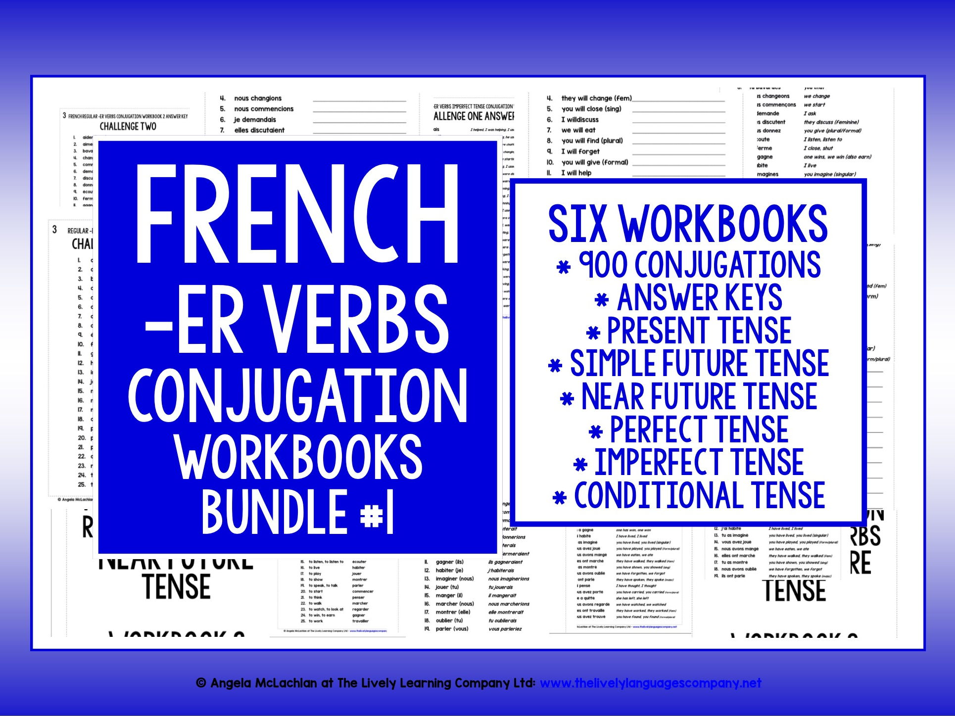 FRENCH REGULAR -ER VERBS CONJUGATION WORKBOOKS
