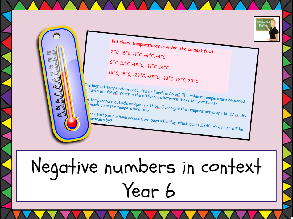 Maths-Number and Place Value Year 6 lesson- use negative numbers in context, and calculate intervals