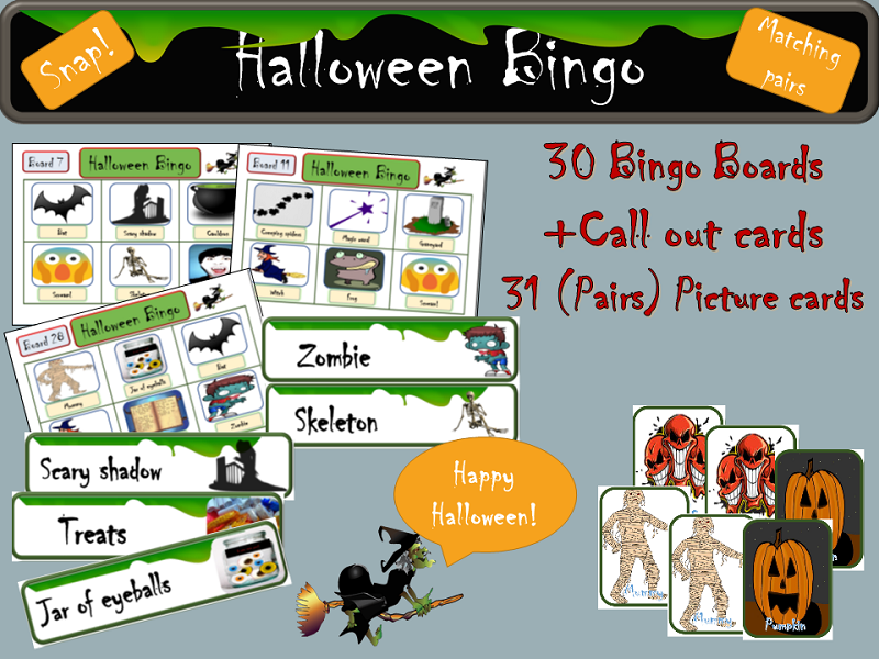 Halloween: Bingo, Call out Cards with Pictures, Labelled Picture Cards - Snap! and Matching Game