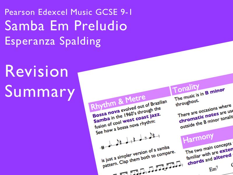 Samba em Preludio - Esperanza Spalding | Edexcel Pearson GCSE Music 9-1 | Revision Summary
