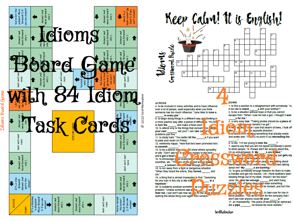 Idioms Bundle (Idioms Board Game with 84 Idiom Cards and 4 Crossword Puzzles)