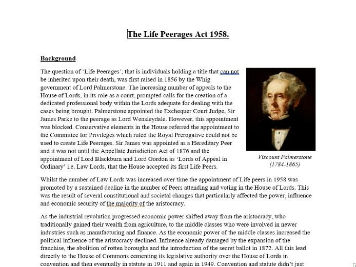 House of Lords Reform: The Life Peerages Act 1958