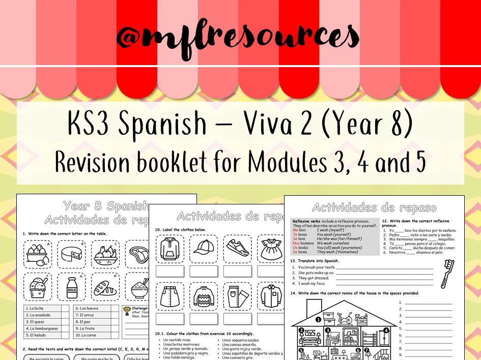 KS3 Spanish - Viva 2 (Yr8) - Revision booklet for Modules 3, 4 and 5