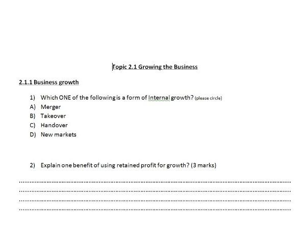 Edexcel GCSE Business 9-1 Theme 2: Topic 2.1 Exam style Questions and Mark Scheme