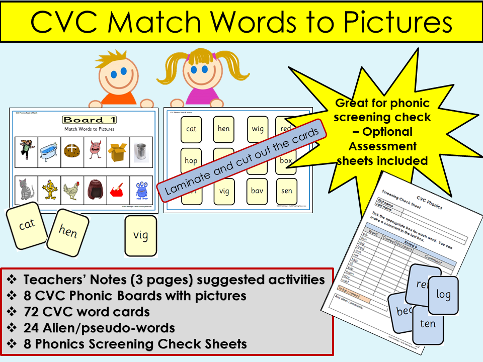 Phonics: Multi-purpose- CVC Words, Picture Board + Word Cards, Games, Phonics Screening Sheets