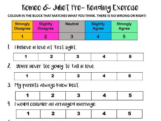 Agree or Disagree? Romeo and Juliet Pre- Reading Exercise FREEBIE