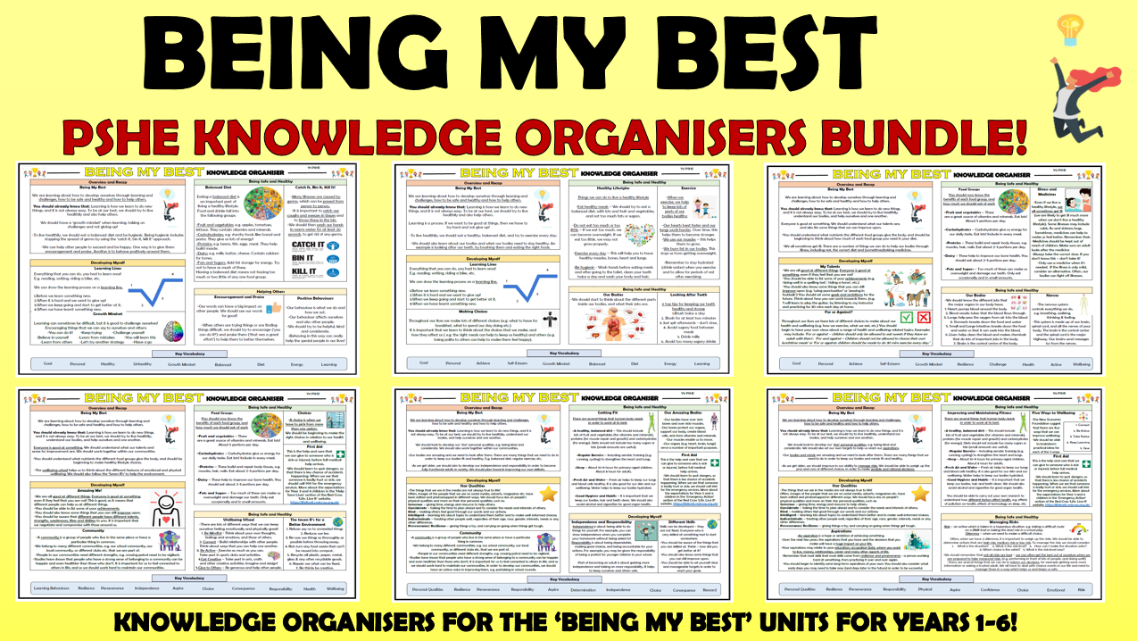 PSHE: Being My Best Primary Knowledge Organisers Bundle!