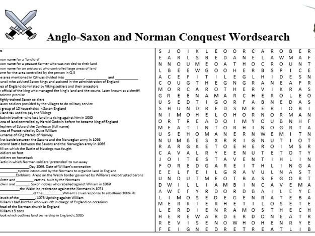 Anglo-Saxon and Norman Quiz Wordsearch