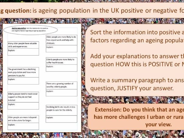 UK Population change and ageing population (Theme 2 Eduqas/WJEC) suitable AQA and Edexcel