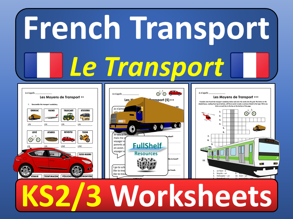 French Transport Worksheets