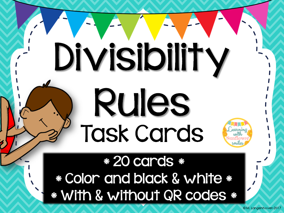 Divisibility Rules Task Cards (with or without QR codes)