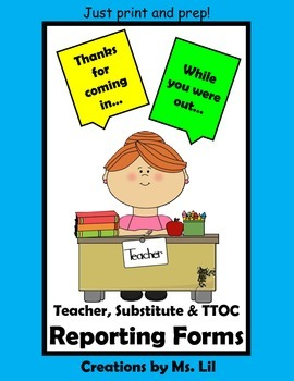 Free Substitute Forms - Teacher Forms ::  Just print, prep and go!